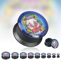 Piercing plug gothique Méchant clown