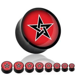 Piercing Plug Pentacle Noir Sur Fond Rouge