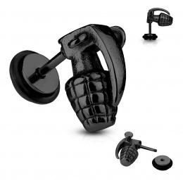 Piercing style faux plug en forme de grenade noire