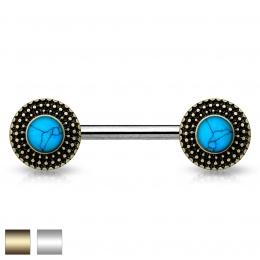 Piercing téton à disques pointillés avec turquoises