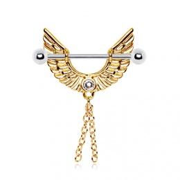 Piercing téton ailes d'anges plaquées or