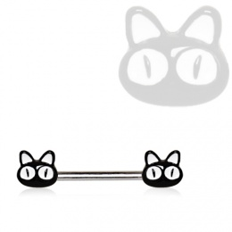 Piercing téton chats noirs à grands yeux blancs