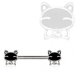 Piercing téton chats noirs à noeud papillon