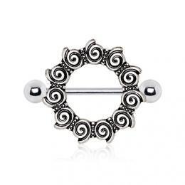 Piercing téton style antique à spirales