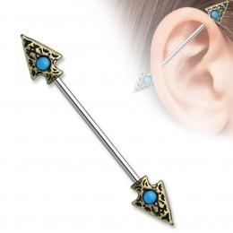Piercing tribal oreille industriel double flèche à turquoise