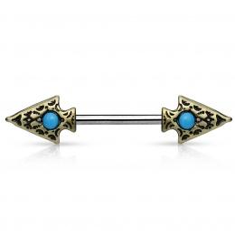 Piercing tribal téton double flèche à turquoise