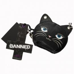 Porte-monnaie en forme de tête de chat noir