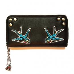 Portefeuille noir rétro à colombes bleu turquoise - Banned
