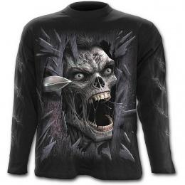 T-shirt gothique homme à manches longues avec zombie fracassant votre porte