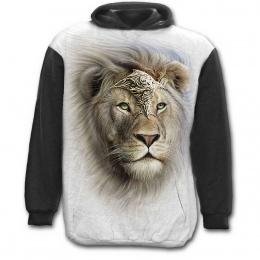Sweat-shirt à capuche homme noir et blanc à Lion fier en armure