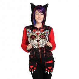 Sweat-shirt femme Banned à chat style crane de sucre et poches pattes de chat