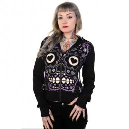 Sweat-shirt femme Banned noir à crane de sucre violet