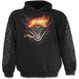 Sweat-shirt gothique homme avec moto à roues de feu