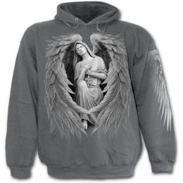 Sweat-shirt gothique homme gris avec vierge Marie à ailes d'ange