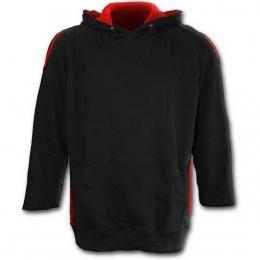 """Sweat-shirt gothique homme noir et rouge à capuche style """"METAL STREETWEAR"""""""