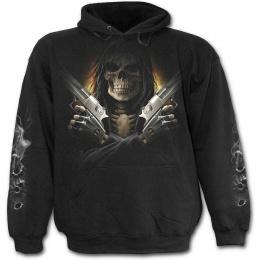 Sweat-shirt gothique homme à squelette flingueur aux cheveux longs