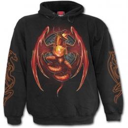 Sweat-shirt homme gothique avec dragon et orbe de feu