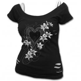 """T-shirt (2en1) femme """"coeur pur"""" avec fleurs blanches"""