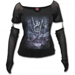 T-shirt femme à manches style gant avec main spectrale à signe rock