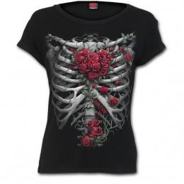 T-shirt femme gothique à cage thoracique et coeur de roses