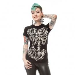 T-shirt femme gothique à cage thoracique style corset - Vixxin