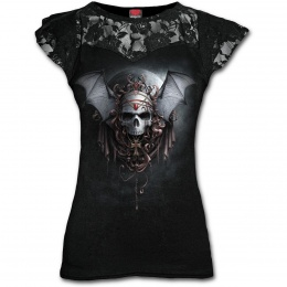 """T-shirt femme gothique à dentelles """"Nuits gothiques"""" à crane avec ailes de chauve-souris"""