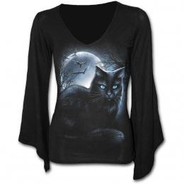T-shirt femme gothique à manches amples et col V à chat noir avec pleine lune et chauves souris