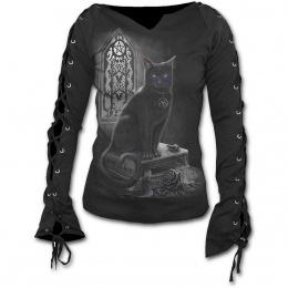 T-shirt femme gothique à manches longues à lacets avec chat et grimoire de sorcellerie