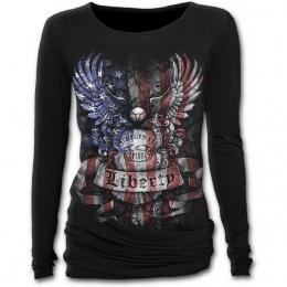 T-shirt femme gothique à manches longues avec aigle aux couleurs du drapeau des USA