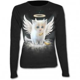 T-shirt femme gothique à manches longues avec chat blanc en ange