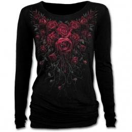 T-shirt femme gothique à manches longues avec roses ensanglantées