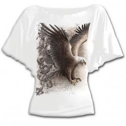 T-shirt femme gothique blanc à manches voilées avec aigle et fleur de Lys