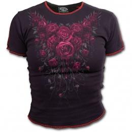 T-shirt femme gothique noir à mancherons avec roses ensanglantées