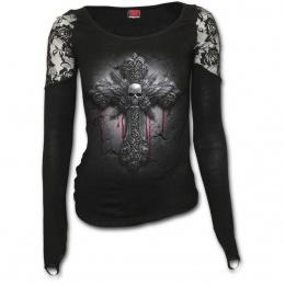 T-shirt femme manches longues et épaules en dentelle avec croix à tête de mort ailée