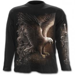 T-shirt gothique homme à manches longues avec aigle, fleur de lys et crane