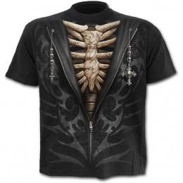 T-shirt homme avec dessin imitation sweat-shirt d�zipp� sur squelette