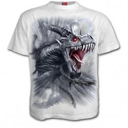 T-shirt homme blanc à dragon gris libéré de ces chaines