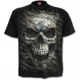 T-shirt homme goth-rock à tête de mort camouflage