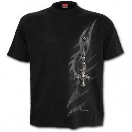 T-shirt homme gothique à symbole tribal et fausse broche