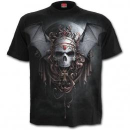 T-shirt homme gothique avec crane à ailes de chauve-souris et baronne de la nuit