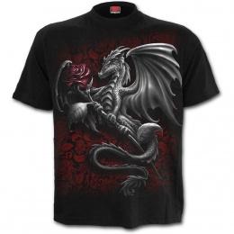 T-shirt homme gothique avec dragon tenant une rose