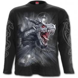 T-shirt homme gothique manches longues à dragon gris libéré de ces chaines
