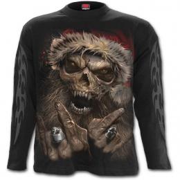 T-shirt homme manches longues à père Noel squelette rock