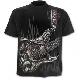 T-shirt homme noir à guitare avec dragon et cranes