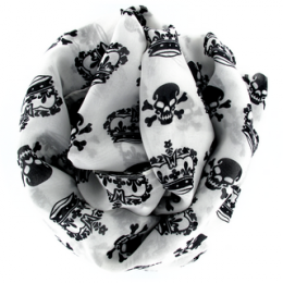 Tr�s grand foulard blanc avec t�tes de mort et couronnes