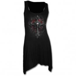 Tunique gothique noire avec croix gothique à crane vampire
