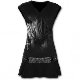 Tunique gothique noire sans manche à femme priant avec une croix à crane