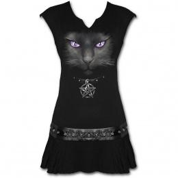 Tunique gothique noire sans manches avec chat noir à pentagramme