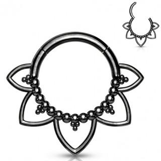 Anneau charnière à fleur tribale en acier noir haute précision