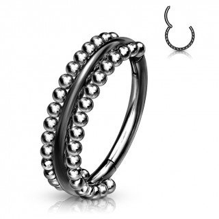 Anneau charnière Noir bordé de perles (en acier haute précision)